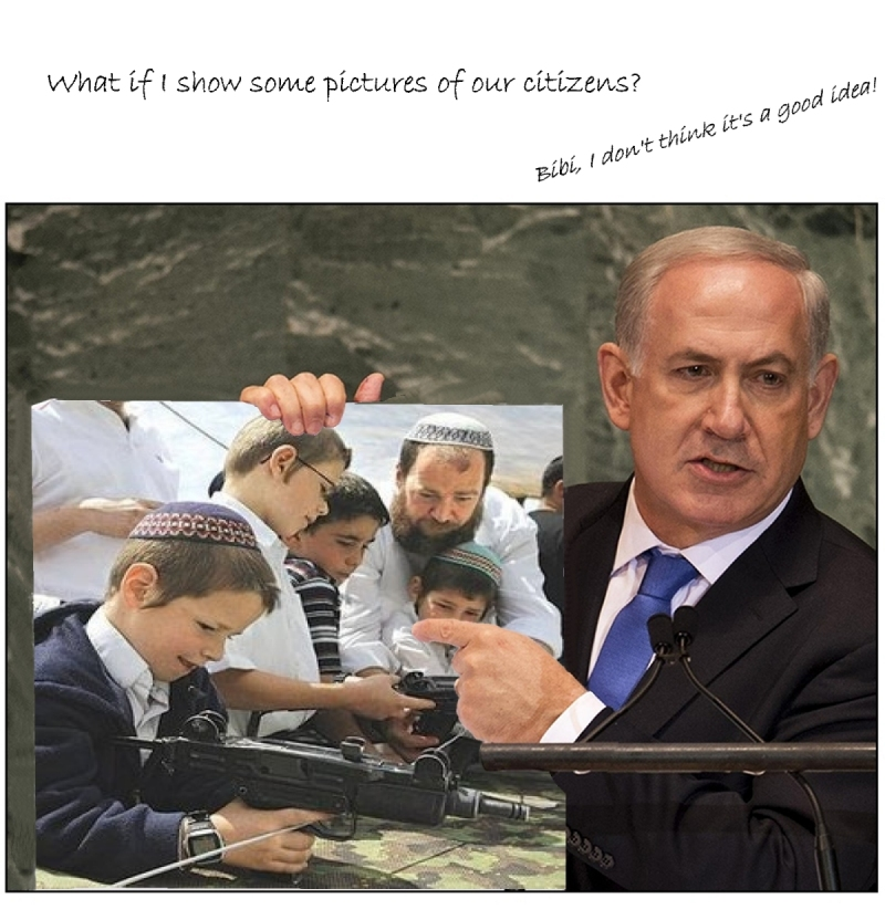 netanyahu UN 2013 settlers guns